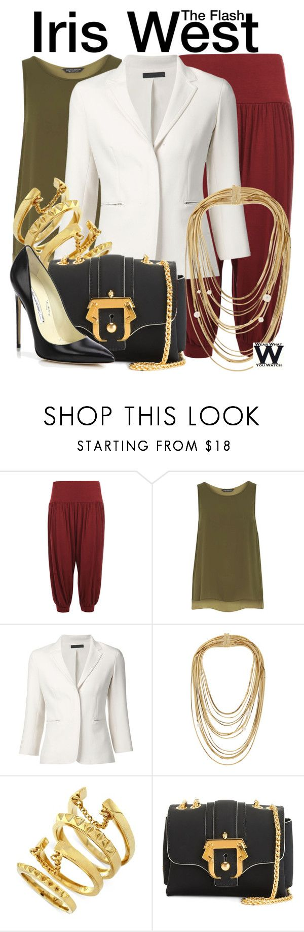 """The Flash"" by wearwhatyouwatch ❤ liked on Polyvore featuring WearAll, Dorothy Perkins, The Row, Rosantica, Vince Camuto, Paula Cademartori, Brian Atwood, television and wearwhatyouwatch"