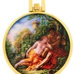 "Patek Philippe Reg. 866/4 Unique Watch with Enamel Miniature ""The Shepard in Love"" By Madame Bischoff."