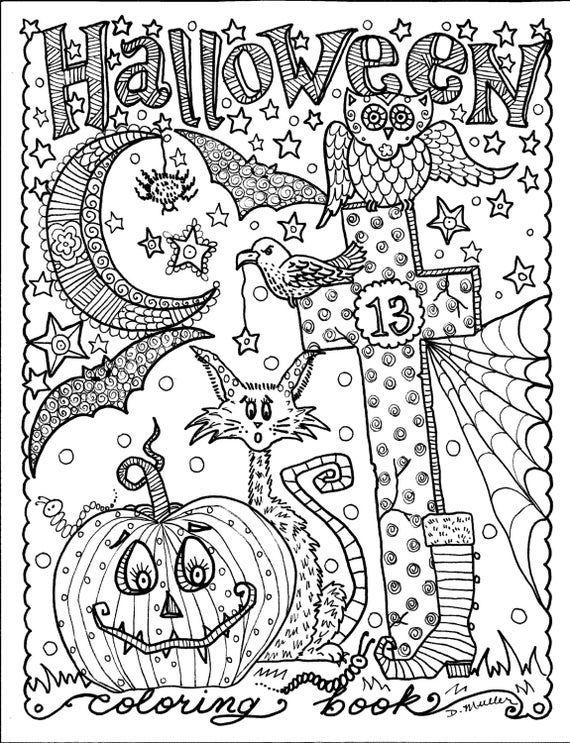 5 Pages Instant Download Halloween Coloring Pages Art To Color Digital Digi Stamp Witch Cat Moon Fall Malvorlagen Halloween Malbuch Vorlagen Digitaler Stempel