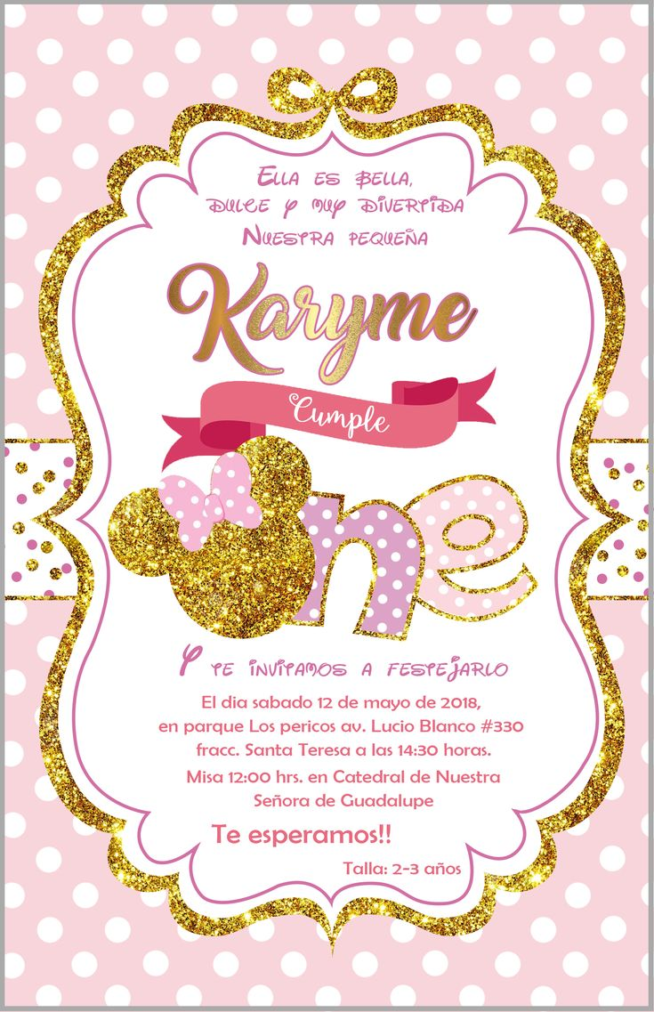 Invitaci 243 N Cumple N 250 Mero 1 Mini Dorada 5x8 Minnie