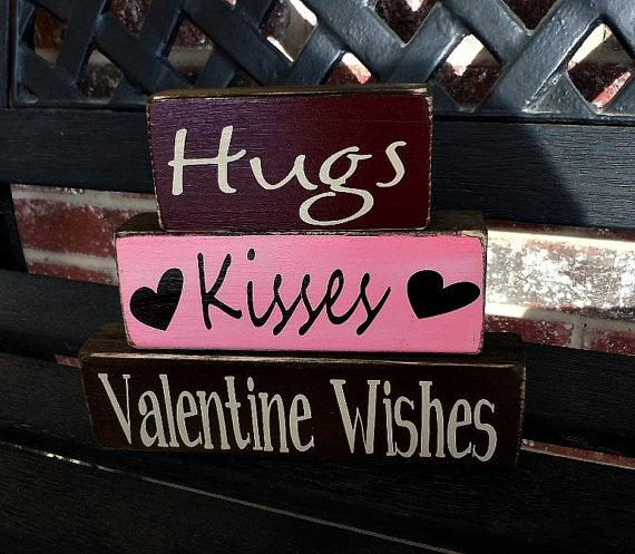 hugs  kisses: Valentines Crafts, Hugs Kisses, Kiss Xoxoxo, Hug Kiss, Kiss I, Wood Blocks, Valentine'S S, Sisters Gifts, Valentines Day Lov