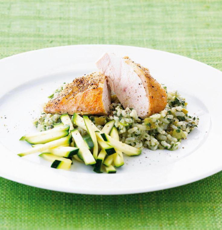 Nem aftensmad med en italiensk lækker hverdagsret med kyllingebryst og hertil en herlig, cremet  risotto med pesto, der garanteret giver succes ved middagsbordet.