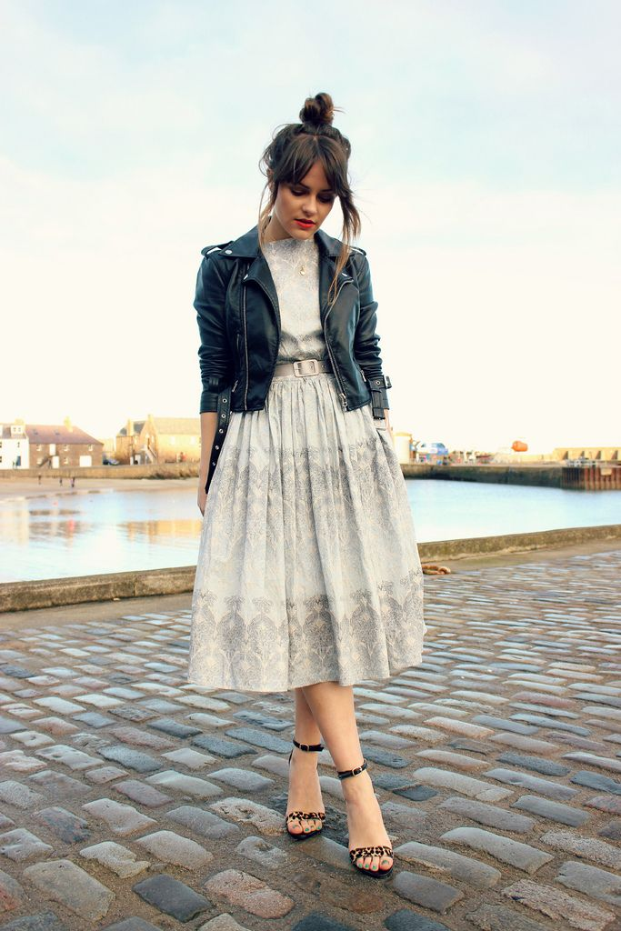 Pretty classic midi dress (with full skirt) and a leather jacket