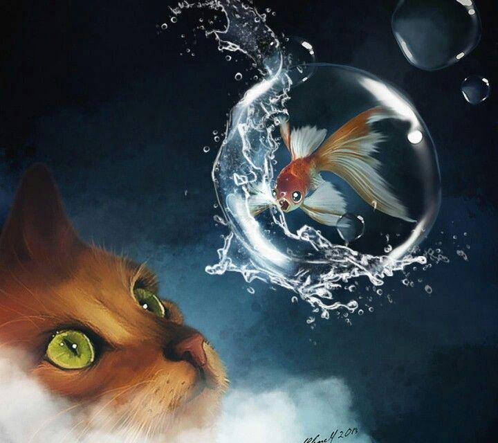 Котейка и рыбка.