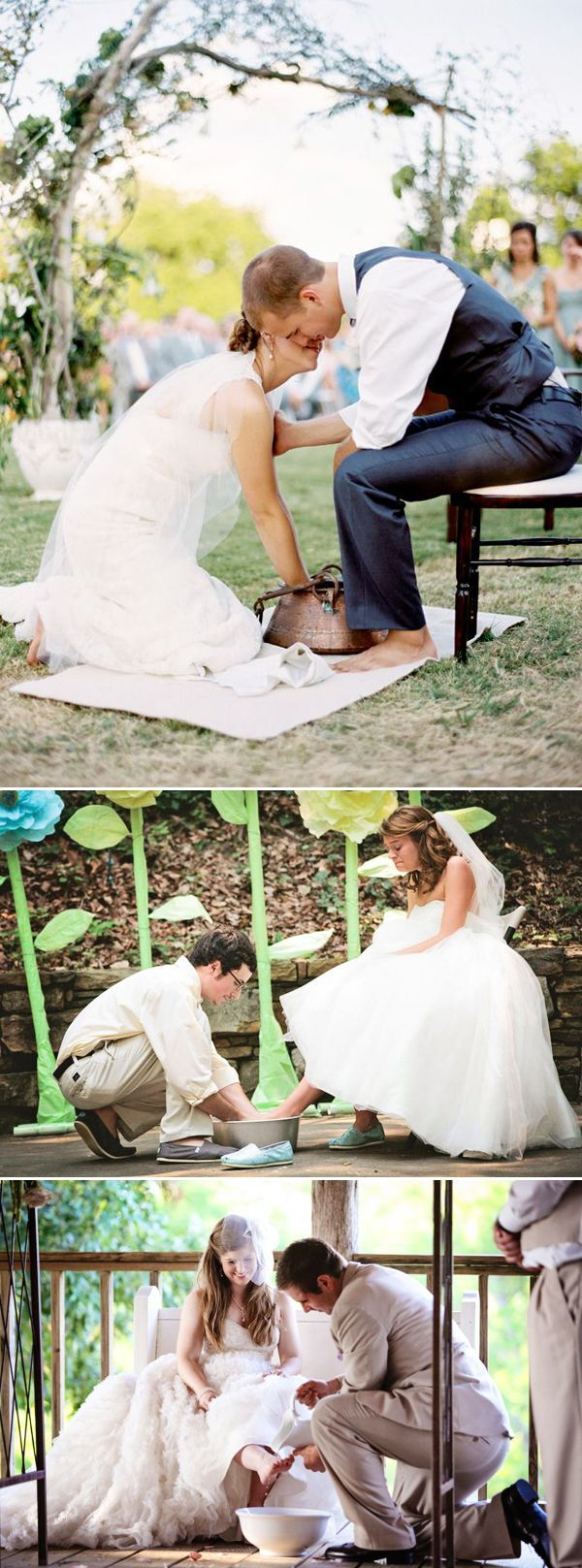 Washing each other's feet instead of tossing a bouquet/garter.