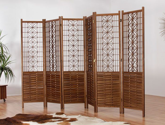 6 Panel Mid Century Teak Room Divider Screen