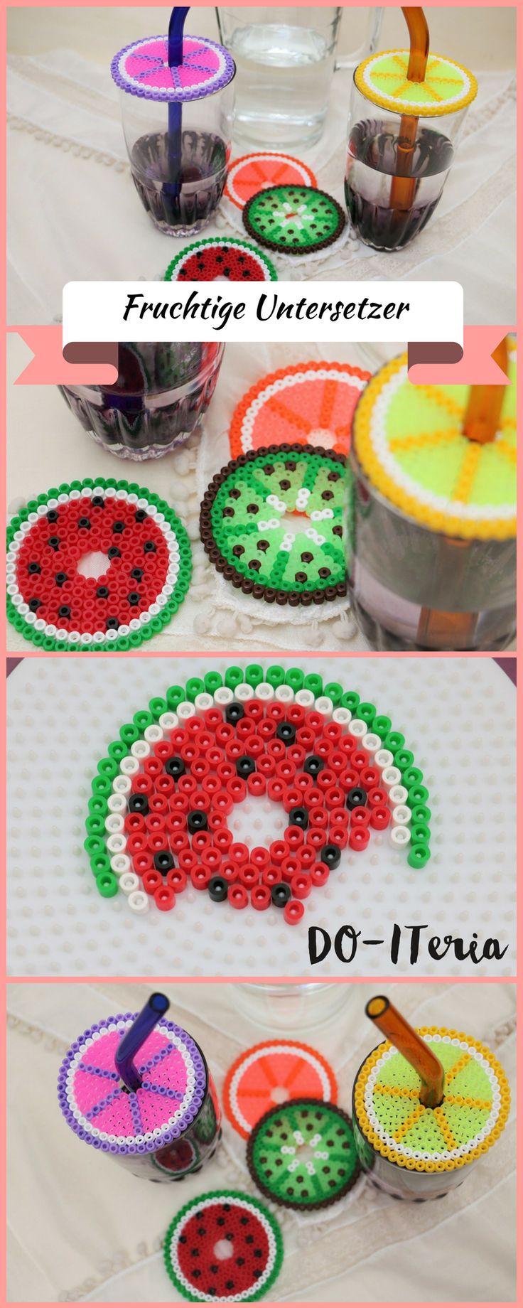 sommerliche Untersetzer mit Fruchtmotiven aus Perlen, die auch als …   – DO-ITeria DIY Projekte
