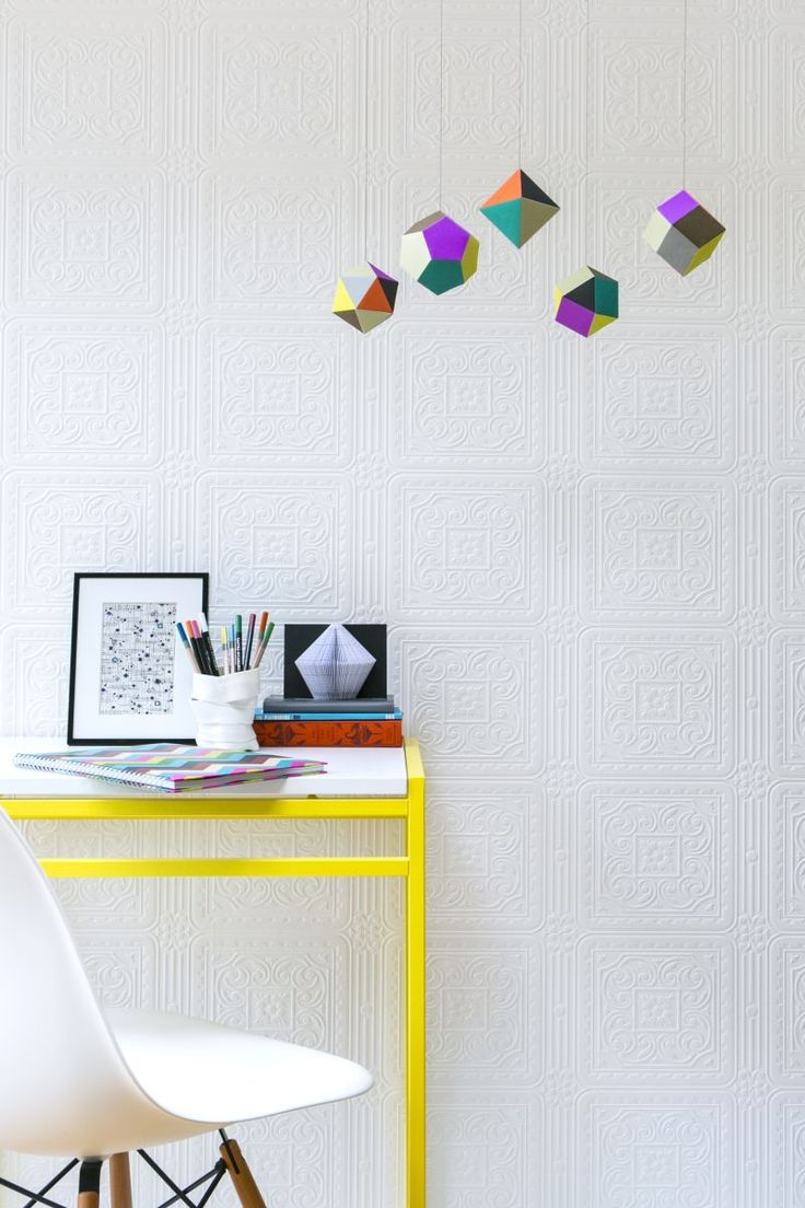 Dress up walls with textured paintable wallpaper called anaglypta - Simple Work Corner With Anaglypta Wallpaper Turner Tile White