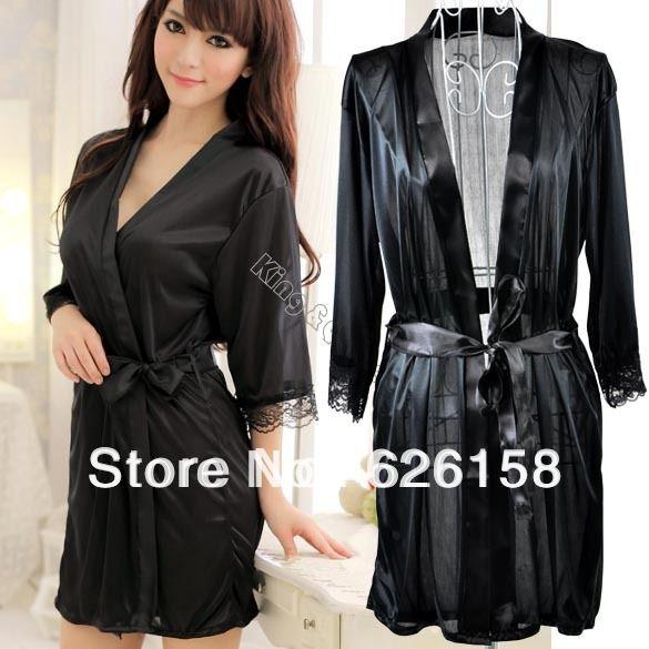 5sets/lot lencería sexy traje de la mujer de hielo pijama de seda vestido de noche vestido ropa de dormir bata bata de baño + g- cadena conjunto 3 13137 colores