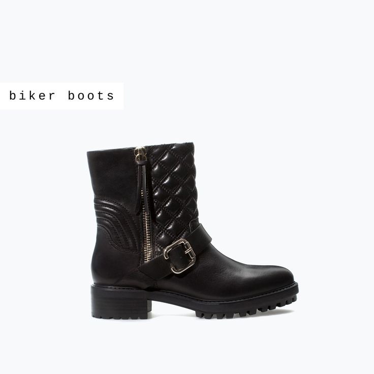 Image 1 of QUILTED LEATHER LOW BIKER BOOT from Zara