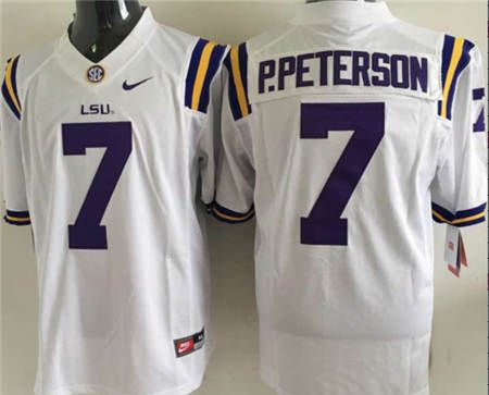 LSU Tigers #7 P.Peterson White College Football Limited Jersey