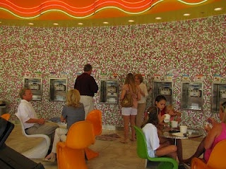 We designed this bright mosaic blend for California Yogurt Kraze, and it looks awesome covering their wall! #mosaic