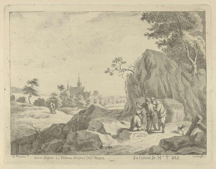 Jan Lauwryn Krafft (I) | Landschap met reizigers en herders, Jan Lauwryn Krafft (I), 1704 - 1765 | Bij een rotsachtige weg zijn drie mannen met elkaar in gesprek. Op het veld achter de weg laten twee herders hun kudde schapen grazen. Op de achtergrond een kerktoren.