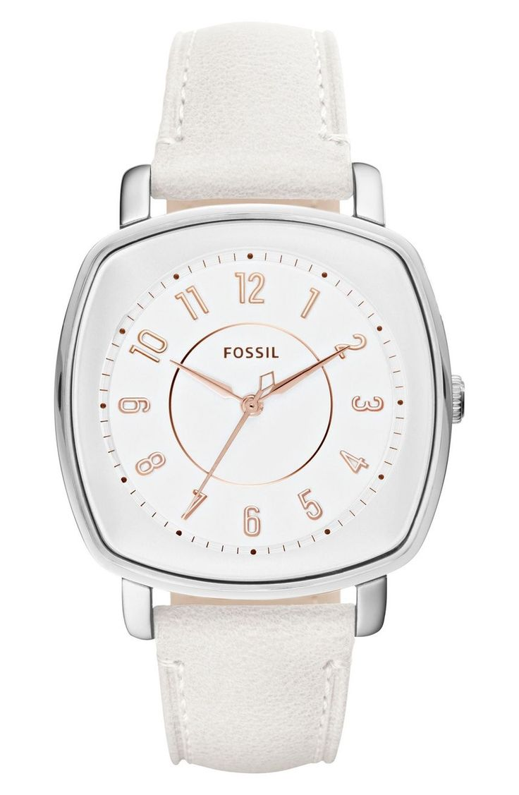 Smooth, rounded edges add a sophisticated feel to this squared-off watch set on a luxe leather strap.