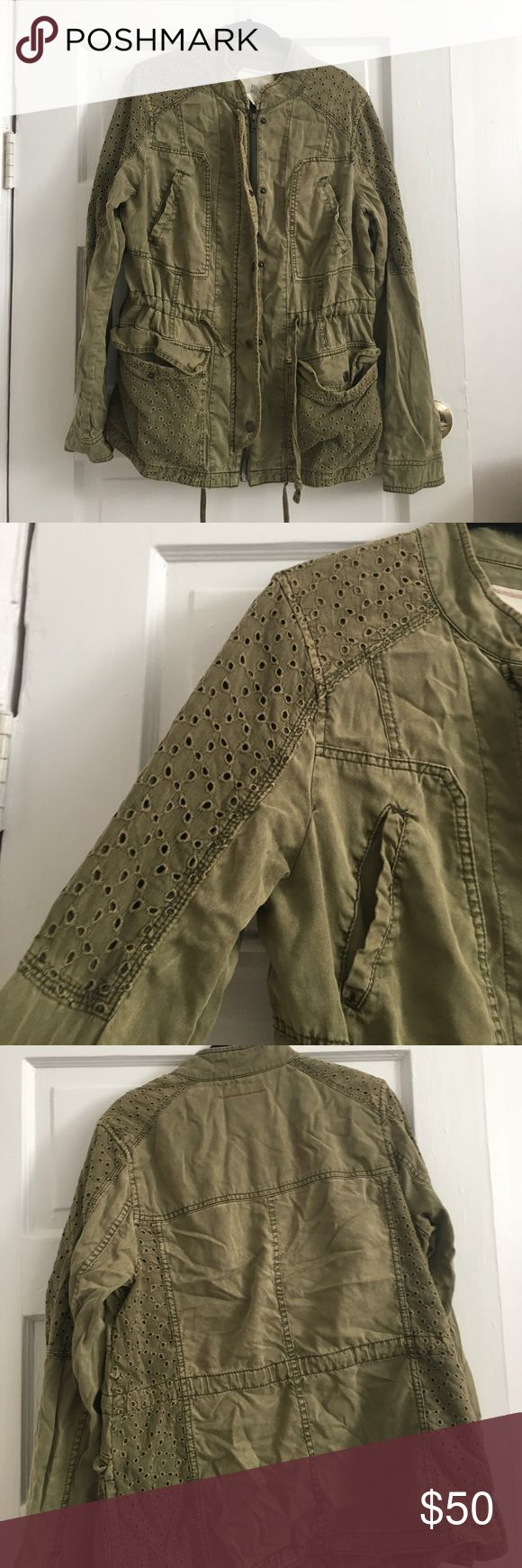 Anthropologie army jacket w/ stitching detail Cute twist on the classic army green canvas jacket. Stitching detail on shoulder and pockets. Love this jacket but own too many army green jackets 😳 Anthropologie Jackets & Coats Utility Jackets