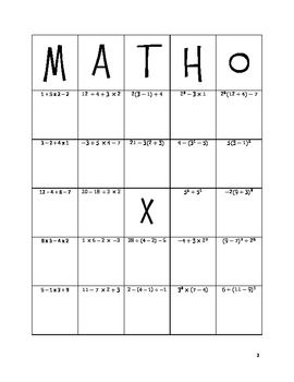 Math-o: Order of Operations. Add numbers along the side and have different equations so if your coordinate gets called, you have two minutes to solve it before the next coordinate is called. The first one to have five in a row  calls matho and must relay the coordinate and the answer!