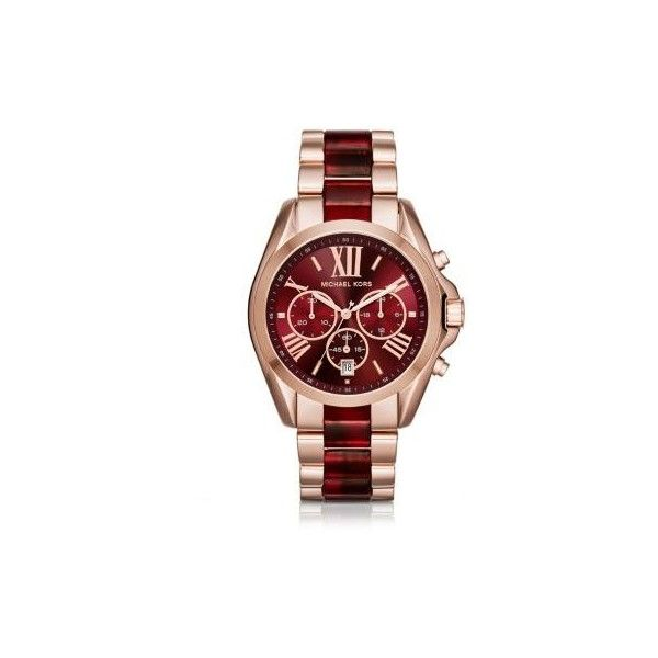 Michael Kors Oversize Bradshaw Rose Gold-Tone and Burgundy Acetate... ($275) ❤ liked on Polyvore featuring jewelry, watches, rose gold jewellery, oversized jewelry, rose gold tone jewelry, michael kors jewelry and michael kors