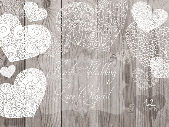 Hearts Lace Rustic Clipart Hand Drawn clipart. от ReachDreams