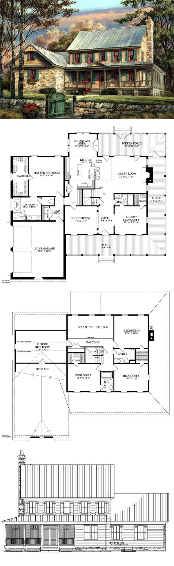 Country Farmhouse Southern House Plan 86144 495