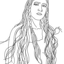 beautiful native american girl on native american day coloring page - Girl Indian Coloring Pages
