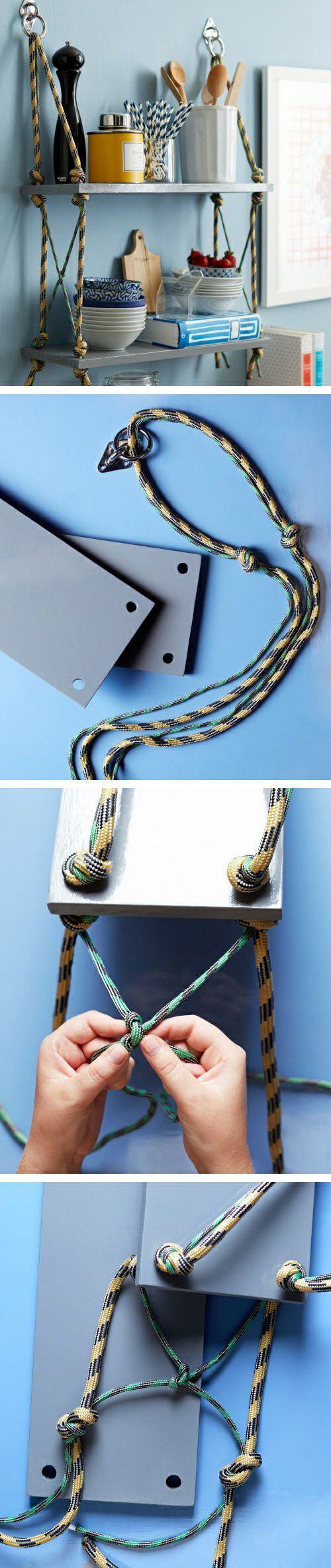 DIY a simple bookshelf by ropes.......