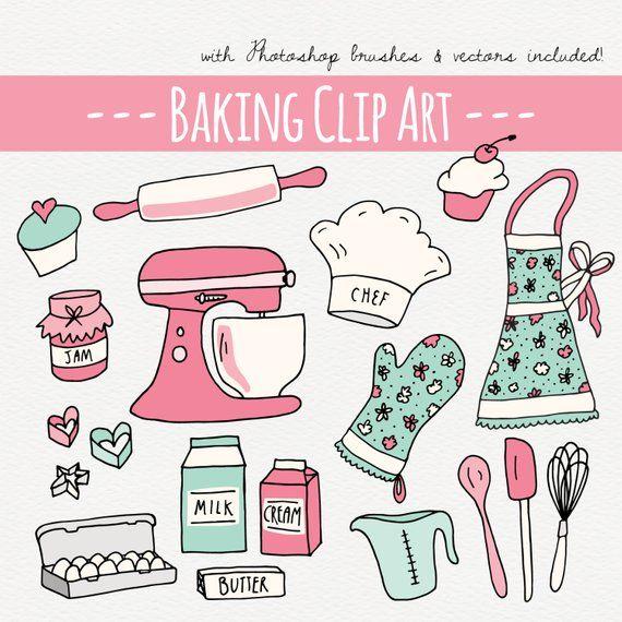 Baking Clipart Set Cake Clipart Digital Clip Art Kitchen Etsy In 2021 Cake Clipart Clip Art Digital Clip Art Set