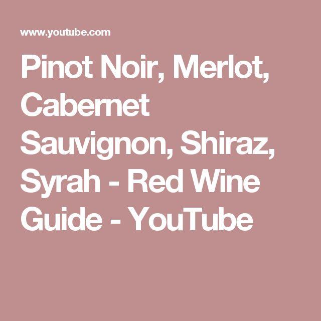 Pinot Noir, Merlot, Cabernet Sauvignon, Shiraz, Syrah - Red Wine Guide - YouTube