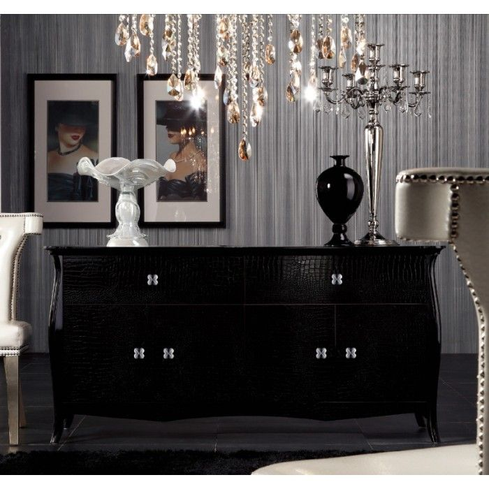 Imperial Transitional Black Buffet Dining Room