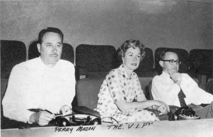 The original three Perry Mason producers: Sam White (associate producer, 1957-1959), Gail Patrick Jackson (executive producer, 1957-1966), Ben Brady (producer, 1957-1959).
