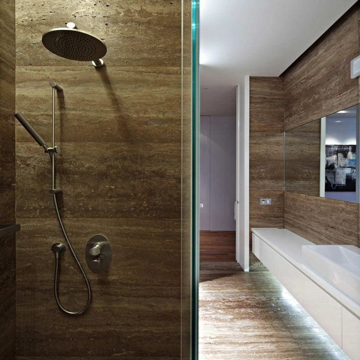 Shower Desings With Wood   Downtown Apartment Wooden Shower Wall Interior  Design
