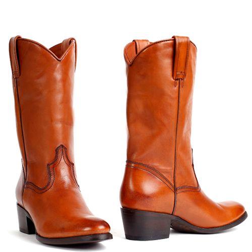 Boeties handmade cowboyboots leren laarzen cognac voor dames