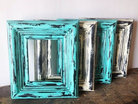 Chunky Style Beach Picture Frames Set Of 4 Turquoise Blue and Off White Rustic Wall Art by SeaLoveAndSalt on Etsy