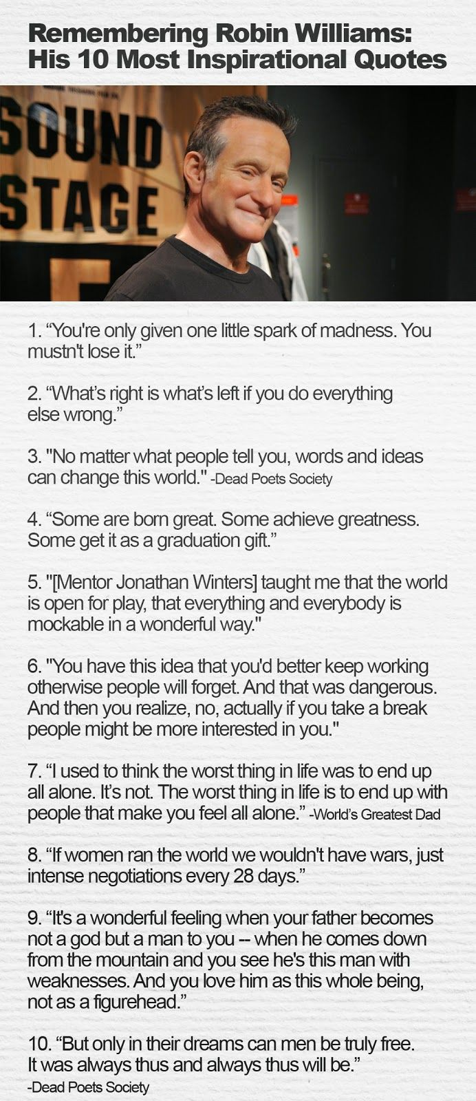 Robin Williams His 10 most #Inspirational #Quotes