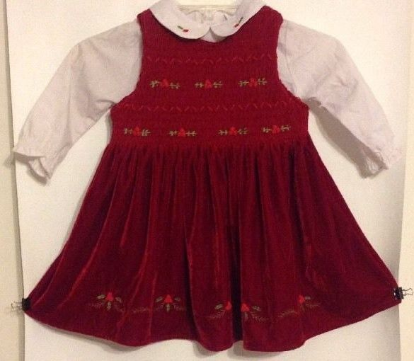 Christmas Greetings 3T Girls Smocked Holly Velvet Christmas Jumper Dress Blouse #ChristmasGreetings #JumperDress #HolidayChruchDressyEverydayCasualFormalParty