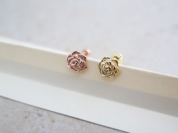 Rose carilage earring/14K solid gold piercing/Tragus Earring/Tragus Piercing/Cartilage piercing/Earrings/Piercing/rose gold earring/helix by MinimalBijoux on Etsy
