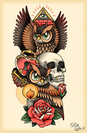 Owl + Skull + Rose + Lock + Key tattoo flash by Rik Lee. Would look fantastic on a hip.