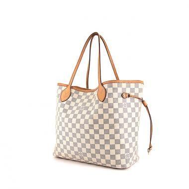Sac cabas Louis Vuitton Neverfull moyen modèle en toile damier azur et cuir naturel