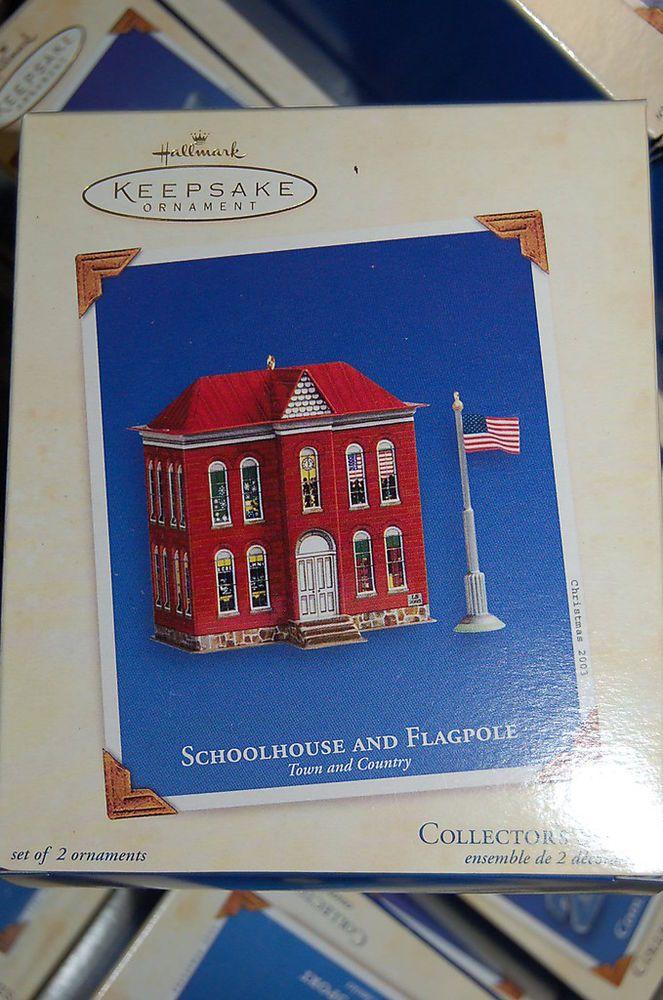 Hallmark 2003 Schoolhouse Flagpole Town & Country TIN series Ornament