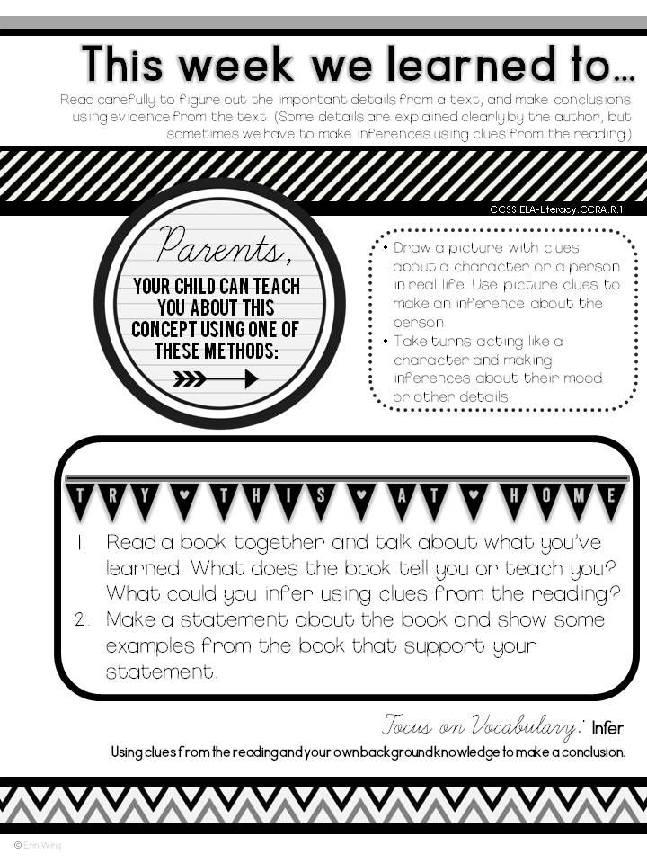 Home Learning Notes: One page notes for parents to help them reinforce literacy and math standards at home. $