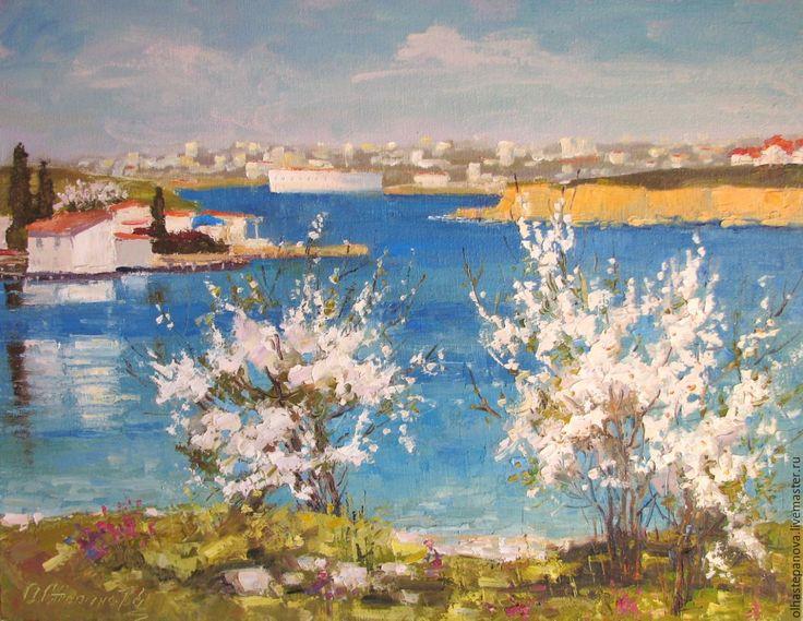 """Купить Картина """"Весна в Карантинной бухте"""", холст, масло. - бирюзовый, цветущие деревья, весна, море"""