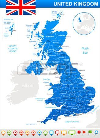 Mapa de Gran Bretaña y la bandera - muy detallada ilustración vectorial. La imagen contiene los contornos del terreno, nombres de países y de la tierra, nombres de ciudades, nombres de objetos agua. bandera, iconos de navegación.