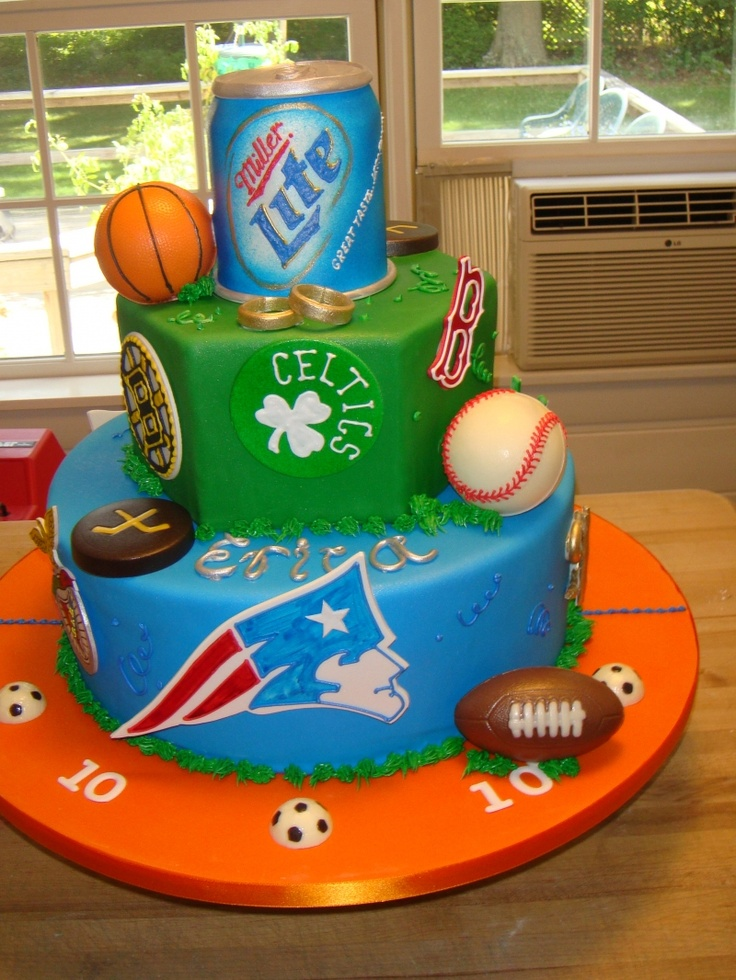 Grooms cake... or this would be cute with packers and brewers.. or badgers.. and bud light on top for him of course :) with a baseball and football