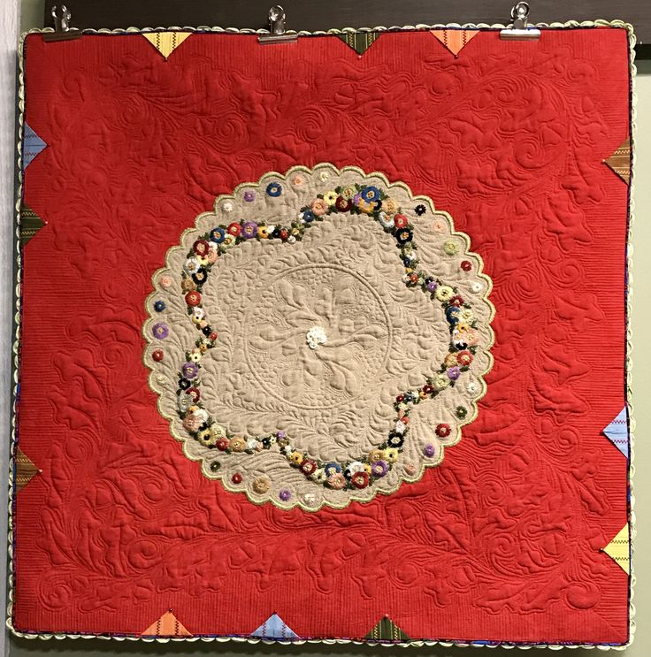 Vintage linen wholecloth quilt created by Darlene Benefield.  The center contains a rosette of her grandmother's antique buttons.  Linen was mounted on Cherrywood fabric.