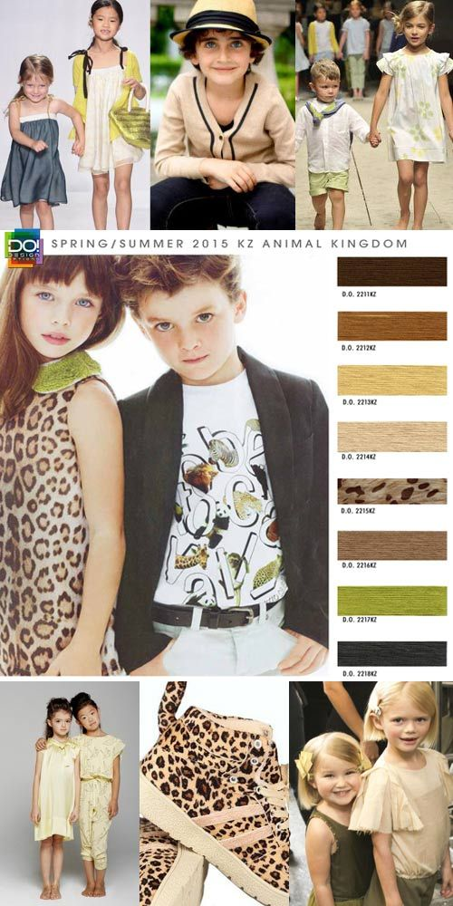 We connect fashion website has tons of free previews of trends for fashion, color, prints here you can find many different companies that predict trends. Spring Summer 2015, boy's and girls, children's color trend report, animal kingdom