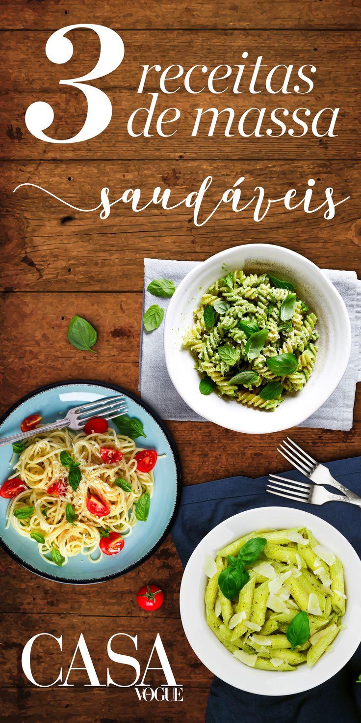 Fusilli ao molho rústico de legumes e manjericão,penne com pesto de avocado e Espaguete com ovos ao molho de tomates frescos e beterraba!