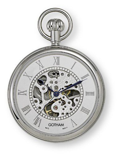 "Gotham Men's Silver-Tone Mechanical Pocket Watch with Desktop Stand # GWC14034SR-ST Gotham. $79.95. Scratch resistant front and back mineral crystals. Includes matching 15"" curb pocket watch chain with spring ring attachment plus solid brass desk top stand. Arrives in beautiful presentation box with Selvyt polishing cloth, lifetime limited warranty and operating instructions. Classic round silver-tone polished 17 jewel mechanical pocket watch suitable for engraving. Regal open fa..."