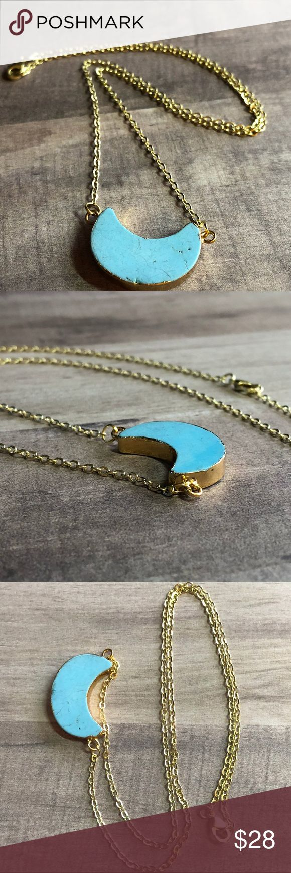 """🆕Howlite Turquoise Crescent Moon Gold Pendant! Natural Blue Howlite Turquoise Stone, Crescent Moon Double End Connecter Pendant, Surrounded in 18K Gold Filling. ✨ I Have MANY Natural Stone/Druzy Pendants I am Listing! Adding to my Natural Gems- Loving the Layered Look with these!✨ 18K GF Necklace, 16-18"""" Length; Pendant Approx. 1""""X0.7""""X0.2""""📸These are my pics of the actual item!  *NO TRADES *Prices are FIRM-Listed at LOWEST Price Unless BUNDLED! *Sales are Final-Please Read Descriptions…"""