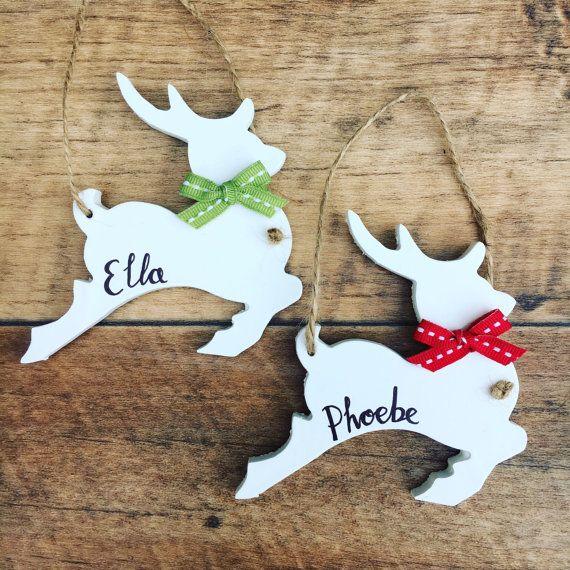 PersonalisedLeaping renna decorazione albero di Natale, stile tradizionale, moderno albero handmade rimozione della decorazione