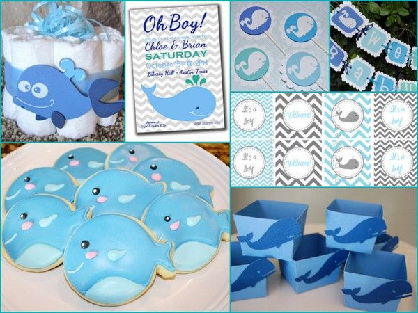 cute whale themed shower and has list of where to buy items