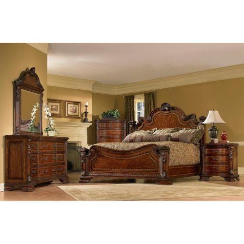 king size bedroom sets King-size 4-piece Wood Estate Bedroom Set